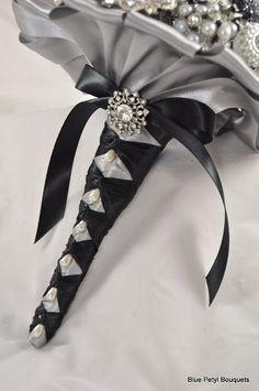 Handle detail of a brooch bouquet:) #wedding #bouquet