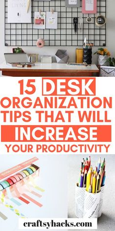 Organization Ideas office 15 Desk Organization Tips That Will Increase Your Productivity Want a productive life? Here are 15 desk organization ideas that will help you to organize home office. Diy Organisation, Office Desk Organization, Clutter Organization, Creative Office, Work Cubicle, Planning And Organizing, Organizing Ideas, Home Office Desks, Office Chairs