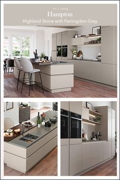 Handleless kitchen design. Simple sophistication comes to mind when you mix hues of warm greys – add a kitchen island to create a space for the whole family to gather.Masterclass Kitchens distribute kitchens across to independent retailers across England, Wales and Scotland