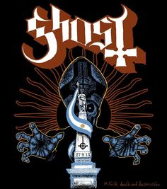 Ghost tour shirt design, Argentina 2013. (c) all rights reserved. Concept by Ghost, artwork by M.Frisk death and destruction.