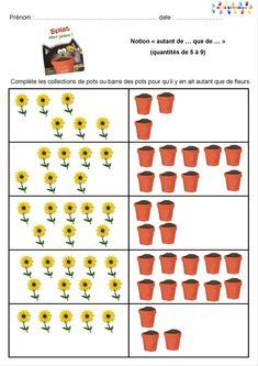 Splat adore jardiner : compter autant de pots que de fleurs – MC en maternelle