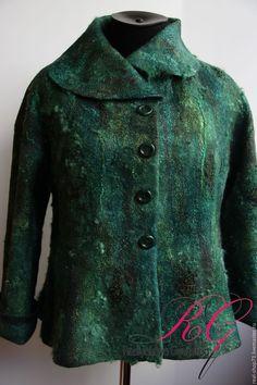 Купить Жакет валяный Изумрудный - нуно-фелтинг, одежда для женщин, одежда из…