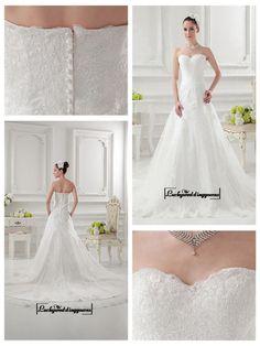 Alluring Satin&Tulle A-line Sweetheart Neckline Natural Waistline Wedding Dress
