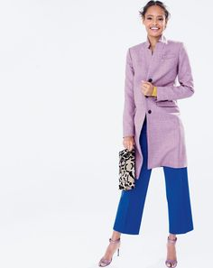 SEP '15 Style Guide: J.Crew women's Regent topcoat in double serge, Collection calf hair envelope clutch and glitter high-heel strappy sandals.