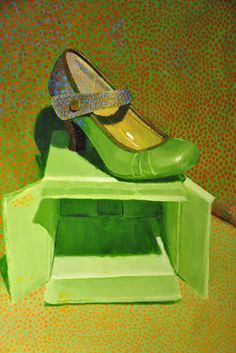 Green shoe painting by artist Barbara Pence. Tiger Shoes, Ap Drawing, Ap Studio Art, Ap Art, Still Life Art, Green Art, Green Shoes, Glass Slipper, Shoe Art