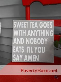 $21 Sweet Tea Amen pallet wood sign. Now available in the Poverty Barn Etsy shop! Featuring a new color in our line: Barn wood. #HandmadeInAmerica