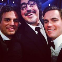 """Pin for Later: Go Behind the Scenes With the Stars at the Emmys Mark Ruffalo was part of what he called """"The Winners Circle,"""" which included Matt Bomer and Alfred Molina."""