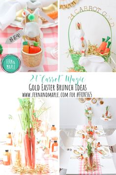 "Gold Easter Brunch - 24 ""Carrot"" Magic . Easter party ideas. #fun365 #easter #partyideas #easterparty #easterbrunch #24kmagic"