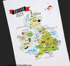Kitchen Art British Isles England Food Map by nancynikkodesign