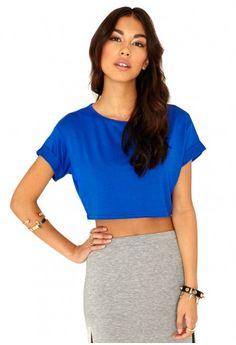 61f6f083df3387 Missguided - Milanna Oversized Crop Top In Cobalt Blue Cami Crop Top