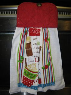 Hand towel pot holder in one Recipe card for by txprettydistressed