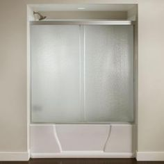 Delta Classic 400 Curve 60 in. x 62 in. Frameless Sliding Tub Door in Stainless-B55910-6030-SS - The Home Depot Glass Shower Panels, Glass Panels, Bathtub Doors, Shower Units, Tub Surround, Soaking Bathtubs, Door Kits, Shower Tub, Clear Glass