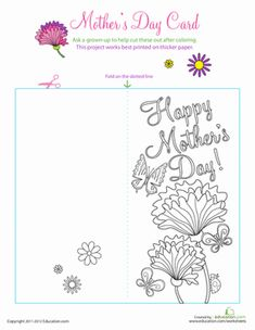 Mother's Day Preschool Holiday Paper Projects Worksheets: Color a Mother's Day Greeting Card Mothers Day Coloring Pages, Cute Coloring Pages, Mothers Day Crafts, Happy Mothers Day, Mothers Day Card Template, Grandma Cards, Mother's Day Colors, Mother's Day Printables, Mother's Day Activities