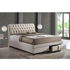 Baxton Studio Ainge Contemporary Button-tufted Light Beige Fabric ...