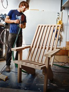 How to Make a Modern Adirondack Chair - PDF: http://www.popularmechanics.com/cm/popularmechanics/data/AdirondackChairPlans.pdf