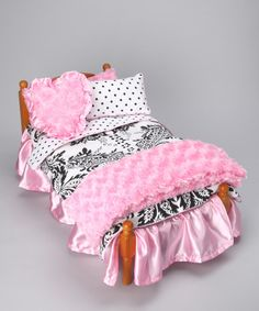 Take a look at this Pink & White Damask Doll Bedding Set by AnnLoren on #zulily today!