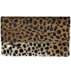 Every girl needs a good looking clutch. Clare V. Foldover Clutch Leopard Haircalf ($260) found on Polyvore featuring bags, handbags, clutches, leopard haircalf, fold over purse, foldover clutches, slouchy handbags, fold over clutches and fold over handbag