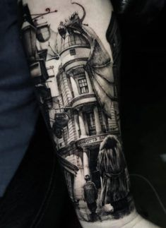 Superb Harry Potter Tattoo Made by Thomas Carli jarlier Tattoo Artists in Moscow, Russia Region Tiger Tattoo Sleeve, Vintage Tattoo Sleeve, Hp Tattoo, Armband Tattoo, Full Sleeve Tattoos, Sleeve Tattoos For Women, Back Tattoo, Zeus Tattoo, Sexy Tattoos