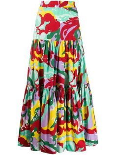 Green cotton maxi skirt from La Doublej featuring an elasticated waistband, a tiered design, a long length and a multicoloured print. Skirt Outfits, Cool Outfits, Casual Outfits, Modest Fashion, Fashion Outfits, Cotton Maxi Skirts, Skirt Patterns Sewing, African Print Fashion, Sweet Dress