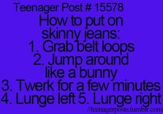 funny. lol sadly this is me with most pants now that i'm finally gaining weight and have no money to buy new ones! :P