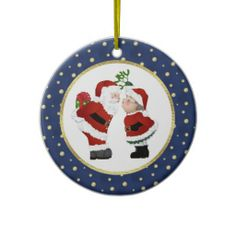 Kissing Santa Ornament Cute couple