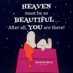 Snoopy... Heaven must be beautiful... You're there