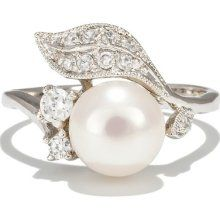 Tandy's Vintage Silver Cz Pave Pearl Engagement Ring