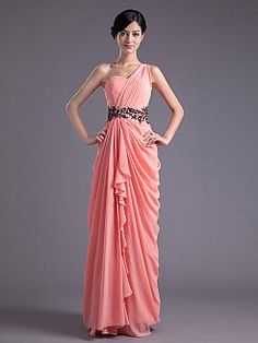 One Shoulder Strap Chiffon Column Evening Dress with Side Draping and Embellished Waist. My friend could pull this.