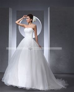 Strapless Floor Length Applique Lace & Satin & Tulle Woman Ball Grown Wedding Dress