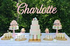 What a great dessert table at a Fairy girl birthday party!  See more party ideas at CatchMyParty.com!