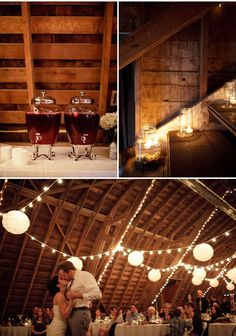 Rustic barn, lanterns, market lights, fun beverage containers...and oh, holy jeeze, candles floating in jars lining the stairs.