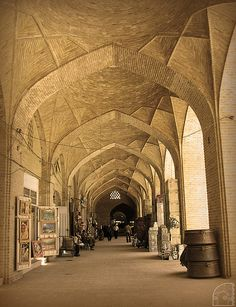 The straight bazaar of Kerman, with 1200 m length, is the longest covered straight bazaar yet.