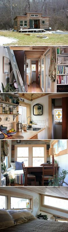 The Hello Tiny Home: a 265 sq ft tiny house with a minimal and natural design. - chryssa-home-decorideas Tiny House Plans, Tiny House On Wheels, Tiny House Living, Cozy House, Tiny House Nation, Tiny House Movement, House With Porch, Tiny Spaces, Tiny House Design