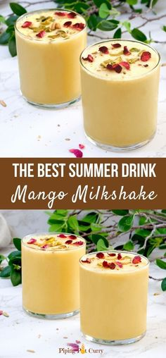 This easy homemade Mango Milkshake is so creamy and delicious. Made with milk and mangoes blended together, it is a delightful treat for all. | Summer drink recipes | Indian Mango drink | Mango Smoothie | summer drink recipes | pipingpotcurry.com Indian Veg Recipes, Paneer Recipes, Lentil Recipes, Curry Recipes, Drink Recipes, Smoothie Recipes, Healthy Fruits, Healthy Drinks, Vegan Vegetarian
