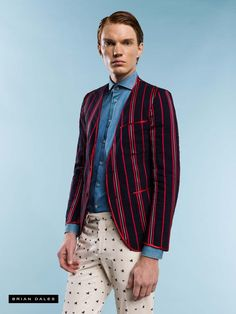 #BRIANDALES #MAN #COLLECTION #SS2016, collarless striped jacket, denim shirt and trousers in micro-pattern.