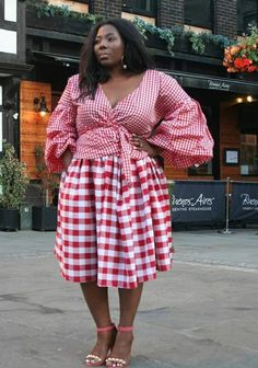 Mixing Prints, Gingham, 4th Of July, Plus Size Fashion, Wrap Dress, Sewing, Instagram, Dresses, Vestidos