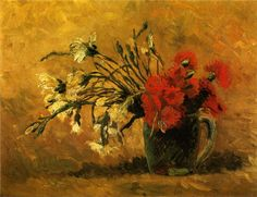 off Hand made oil painting reproduction of Vase With Red And White Carnations On Yellow Background, one of the most famous paintings by Vincent Van Gogh. Vincent Van Gogh painted the still life Vase With Red And White Carnations On Yellow Backgroun. Vincent Van Gogh, Flores Van Gogh, Van Gogh Flowers, Red Flowers, Van Gogh Still Life, Van Gogh Arte, White Carnation, Van Gogh Paintings, Art Van