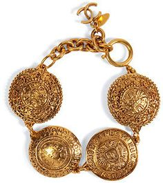 CHANEL VINTAGE JEWELRY Gold-Plated Cambon Coin Bracelet  | More here: http://mylusciouslife.com/shopping-where-to-buy-new-and-genuine-vintage-chanel-items-online/