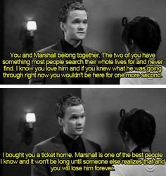The first time we realize that Barney's not such a bad guy. How I Met Your Mother, himym Best Tv Shows, Favorite Tv Shows, Best Shows Ever, Marshall And Lily, How Met Your Mother, Ted Mosby, Himym, Mothers Friend, Neil Patrick Harris