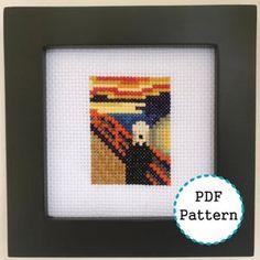 Edvard Munch, Pdf Patterns, Beading Patterns, Cross Stitch Patterns, Easy A, Arte 8 Bits, Bridge Painting, Mini Cross Stitch, Little Stitch