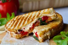 Tomato Basil Roasted Pepper Vegan Panini - Healthy. Happy. Life.