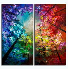 Pintura de paisaje original bosque colores horizonte n por elseart