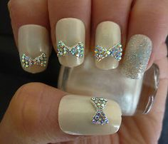 BLING 3D Wedding Prom Nail Art Bows with Rhinestone 3D Nail Art Decoration