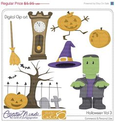 BLACK FRIDAY 50% OFF Halloween Vol3 Cliparts - Digital Clip Art , Commercial and Personal Use Clipart, Scrapbook, Printable - Instant Downl