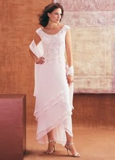Beautiful mother of the bride dress with matching shawl.