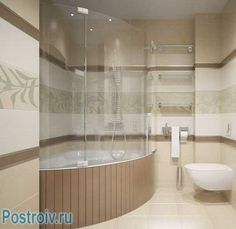 Угловая ванна с душевой кабиной. Фото
