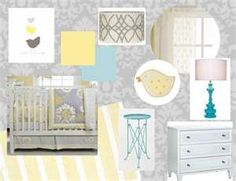light grey and yellow baby space with accents