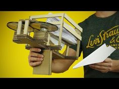 DIY Semi-Automatic Paper Plane Launcher from Cardboard at Home - YouTube