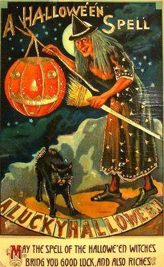 A Halloween Spell - A lucky Halloween ( Vintage Halloween Card - Victorian Witch Pumpkin & Black Cat )