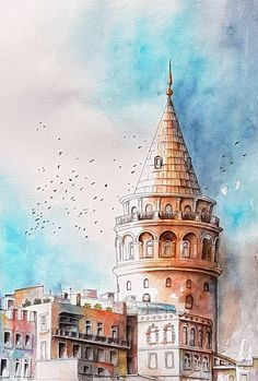 Galata Tower by rougealizarine Architecture Drawing Sketchbooks, Watercolor Architecture, Architecture Art, Artist Painting, Artist Art, Sketch Background, Watercolor City, Travel Wall Art, Turkish Art
